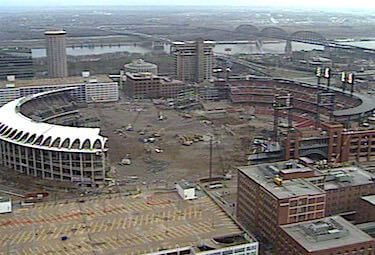 old and new busch stadiums