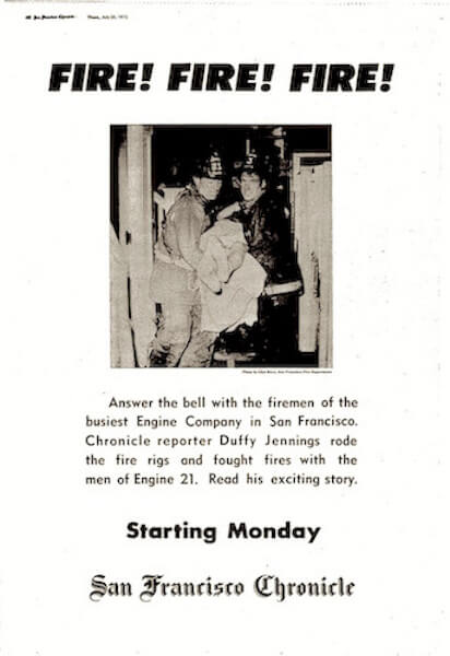 Full page Ad for Duffy Jennings' Firehouse Series