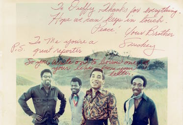 Smokey Robinson: autograph for Duffy Jennings, 1970